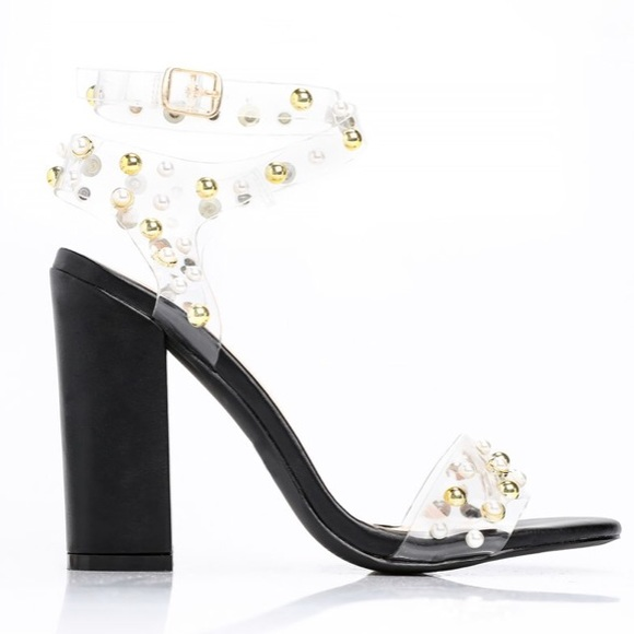 d15668cc418 Pearl and gold studded clear block heels
